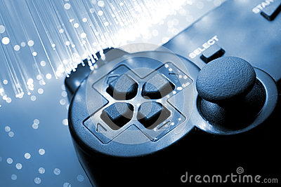O controlador do jogo tonificou o azul