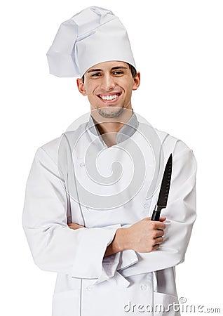 O cozinheiro do cozinheiro chefe entrega a faca