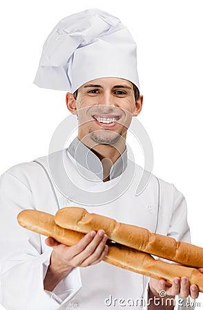 O cozinheiro do cozinheiro chefe entrega o pão