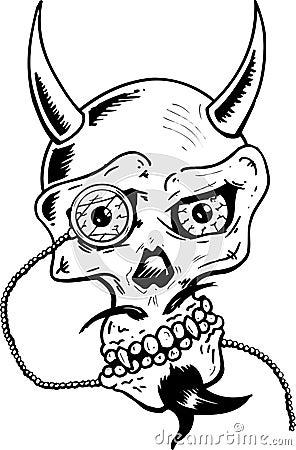 O crânio do diabo com chifres e o olho de vidro remendam