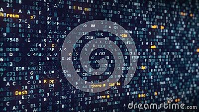 O cryptocurrency diferente nomeia os subtítulos que aparecem entre a mudança de símbolos hexadecimais em um tela de computador vídeos de arquivo