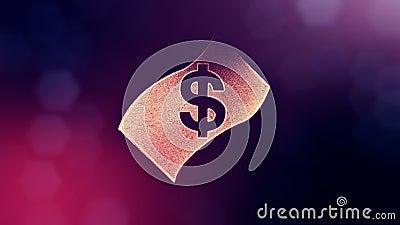 O d?lar assina dentro o emblema da c?dula Fundo da finan?a de part?culas luminosas anima??o do la?o 3D com profundidade de campo ilustração stock