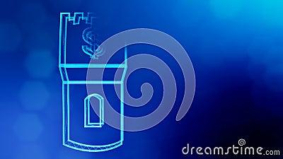 O d?lar assina dentro o emblema de uma torre Fundo da finan?a de part?culas luminosas anima??o do la?o 3D com profundidade de cam ilustração royalty free
