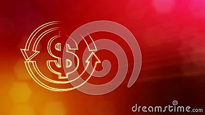 O d?lar assina dentro o emblema da seta redonda Fundo da finan?a de part?culas luminosas anima??o 3D sem emenda com profundidade  ilustração stock