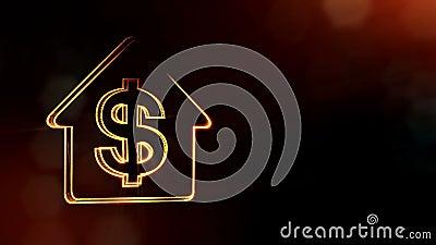 O d?lar assina dentro o emblema de uma casa Fundo da finan?a de part?culas luminosas anima??o 3D sem emenda com profundidade de c ilustração royalty free