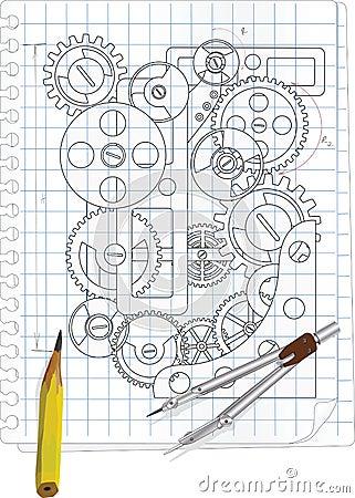 O desenho com engrenagens