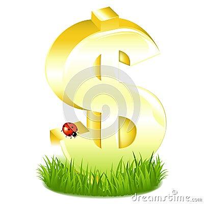 O dólar dourado assina dentro a grama com