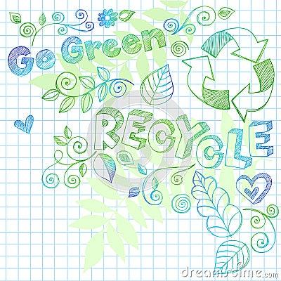 O Doodle esboçado do caderno recicl a ilustração