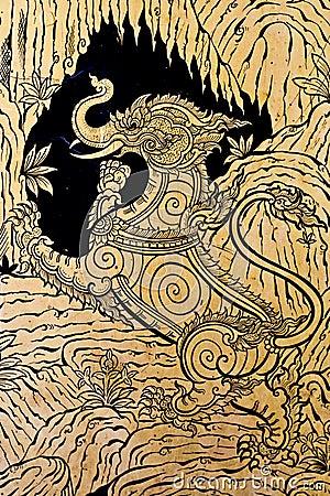 O estilo tailandês real, pintura craftman de imagina