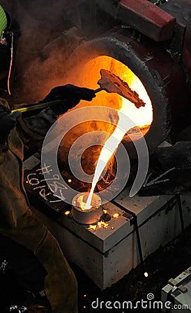 O ferro derrama - a obstrução da escória