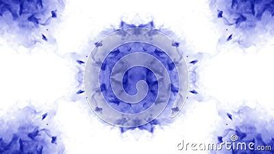 O fundo abstrato de fluxos da tinta ou do fumo é caleidoscópio ou mancha de tinta test8 de Rorschach Isolado no branco no movimen ilustração royalty free