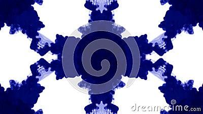 O fundo abstrato de fluxos da tinta ou do fumo é caleidoscópio ou mancha de tinta test5 de Rorschach Isolado no branco no movimen ilustração stock