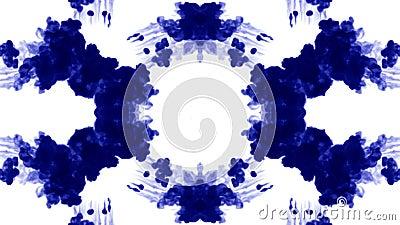 O fundo abstrato de fluxos da tinta ou do fumo é caleidoscópio ou mancha de tinta test4 de Rorschach Isolado no branco no movimen ilustração do vetor