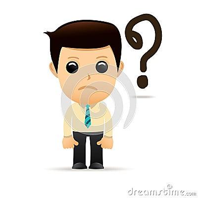 O homem de negócios dos desenhos animados com sentimento triste e frustra