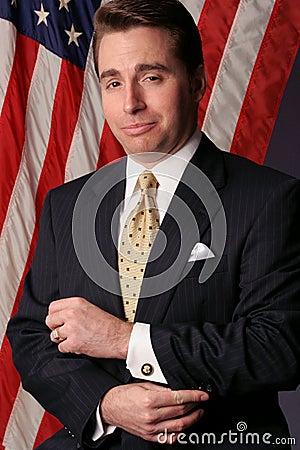 O homem de negócios transforma-se um candidato