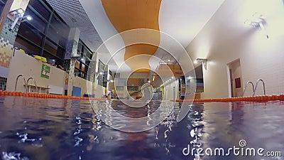 O homem em nadadas vermelhas do tamp?o rasteja para a c?mera na piscina vazia vídeos de arquivo