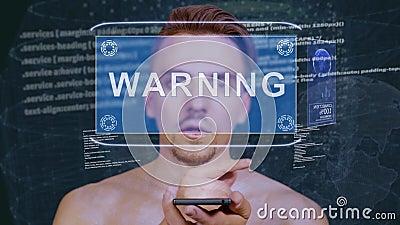 O indivíduo interage aviso do holograma de HUD vídeos de arquivo