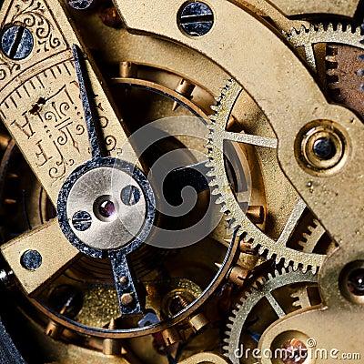 O mecanismo de um relógio velho