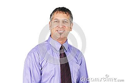 O meio envelheceu o sorriso do homem de negócio