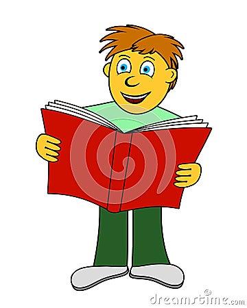 O menino lê um livro