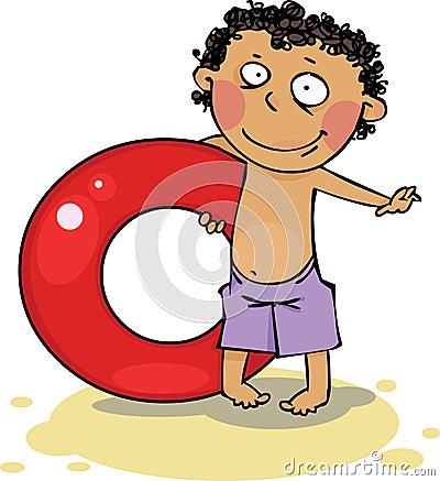 O menino na praia