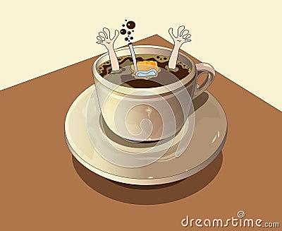 O mergulhador mergulha no café