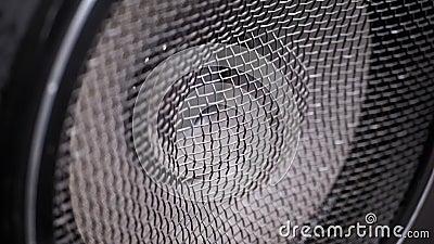 O Movimento da Membrana de Papel Vintage do Alto-Falante Acústico de Subwoofer Vibração e Reprodução de Bass Movimento lento video estoque