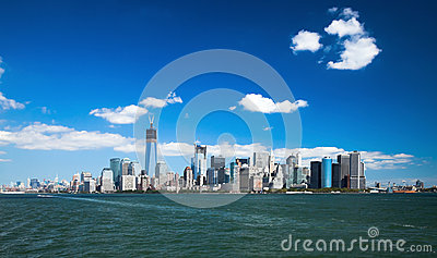 O New York City w do centro a torre da liberdade