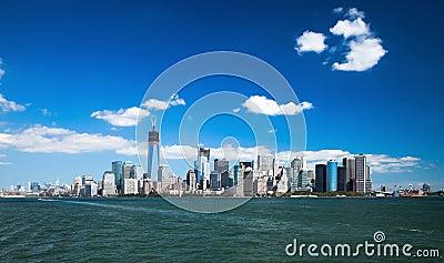 O New York City w do centro a torre da liberdade