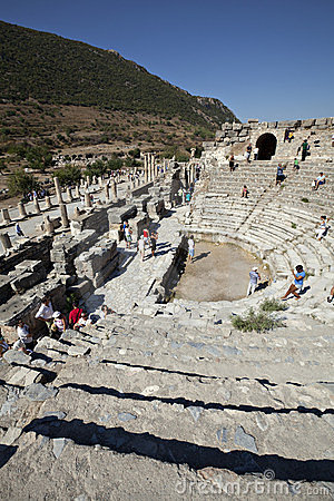O Odeion, Ephesus, Izmir, Turquia Foto Editorial