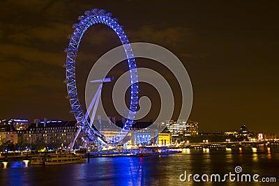 O olho de Londres e o rio Tamisa Imagem de Stock Editorial