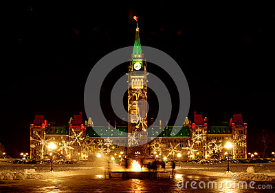 O parlamento canadense no Natal