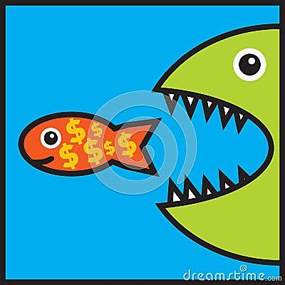 O peixe grande está comendo peixes pequenos com sinais de dólar