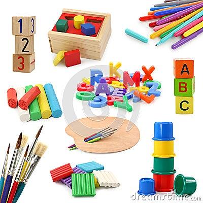 O pré-escolar objeta a coleção