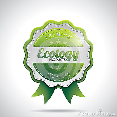 O produto da ecologia do vetor etiqueta a ilustração com projeto denominado brilhante em um fundo claro. EPS 10.