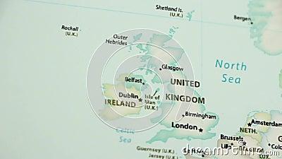 O Reino Unido em um mapa com Defocus video estoque