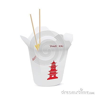 O restaurante chinês abriu remove a caixa enchida com os macarronetes