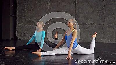 O retrato de duas jovens mulheres que praticam a ioga exercita junto no estúdio bem iluminado da ioga gymnastics video estoque