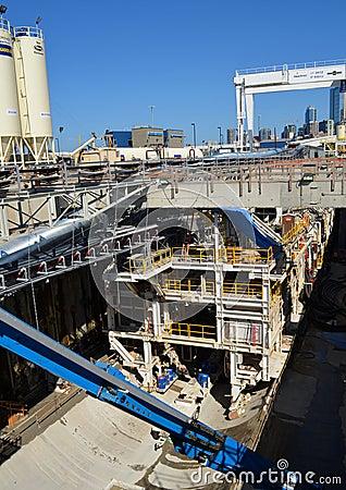 O Seattle fura profundamente o projeto do túnel Foto de Stock Editorial