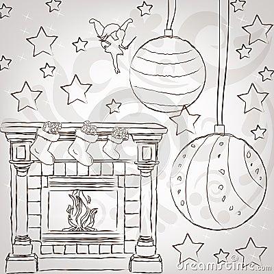 O stylization do esboço casa o greetin do vintage do Natal