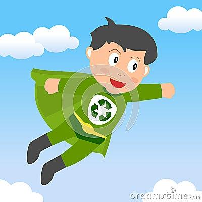 O super-herói recicl o menino