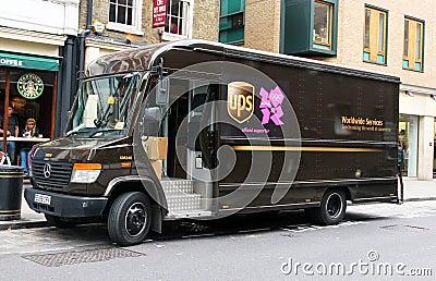 O UPS está pronto para os Jogos Olímpicos. Fotografia Editorial