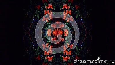 O vídeo do caleidoscópio, menina na arte corporal luminescente essa levanta sob a lâmpada ultravioleta vídeos de arquivo