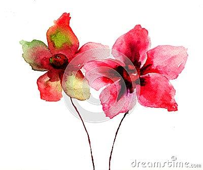 O vermelho estilizado floresce a ilustração