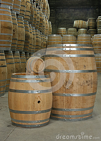 Oak barrels in cellar