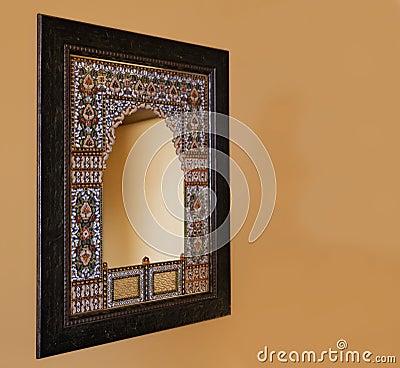 Oak framed indigenous mosiac mirror India