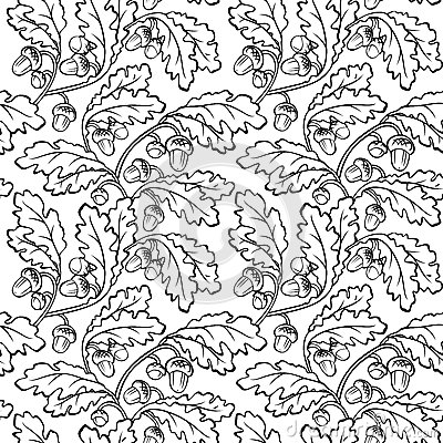 Oak Leaf Acorn Black White Seamless Background Stock