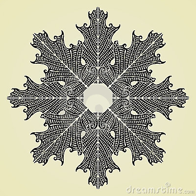 Oak leaves star black original woodcut
