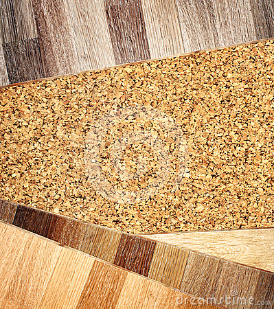 Oak parquet and cork flooring texture