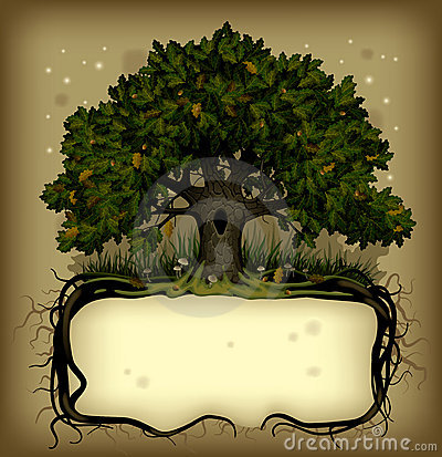 Oak tree wih a banner Vector Illustration